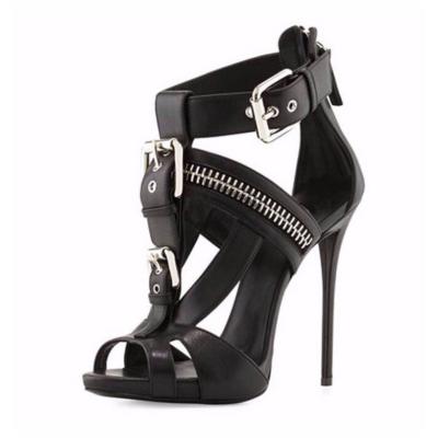 Black Punk Zipper T-Strap Buckle Sandals Stiletto Heels with Peep Toe