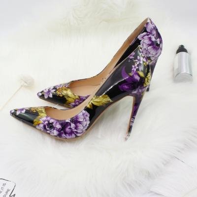 Purple Floral Embossed Dresses Stilettos Pumps Wedding High Heel Shoes