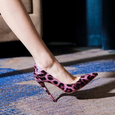Purple Leopard Print Heel Stiletto Heel Pumps