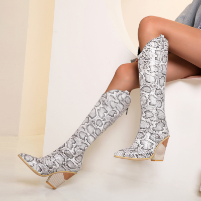 White Snake-effect High Heel Cowgirl Boots Knee High Boots