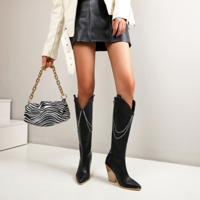 Black Snake-effect Heeled Chain Cowgirl Boots Knee High Boots