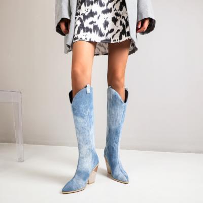 Blue Denim High Heel Cowgirl Boots Knee High Boots