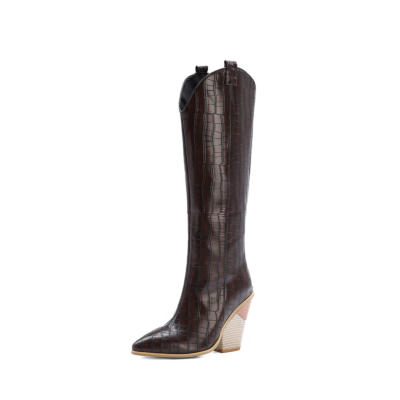 Brown Snake-effect High Heel Cowgirl Boots Knee High Boots