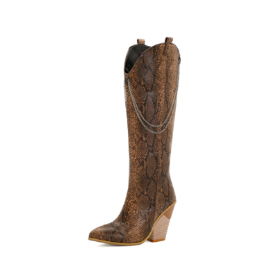 Brown Snake-effect Heeled Chain Cowgirl Boots Knee High Boots