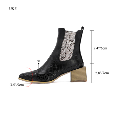 Python Effect Ankle Booties Square Toe Chelsea Boots