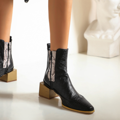 Black Python Effect Ankle Booties Square Toe Chelsea Boots