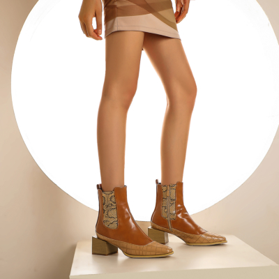 Brown Python Effect Ankle Booties Square Toe Chelsea Boots