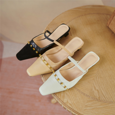 Quiled Mary Janes Flats Leather Rivets Mules with Closed Toe