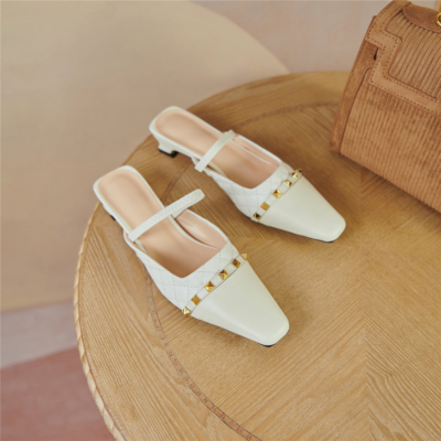 White Quiled Mary Janes Flats Leather Rivets Mules with Closed Toe