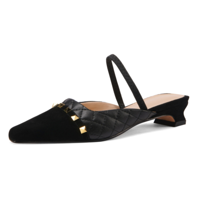 Black Quiled Mary Janes Flats Leather Rivets Mules with Closed Toe