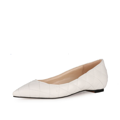 Quilted Pointed Toe Flat Pumps Ballet Shoes for Work