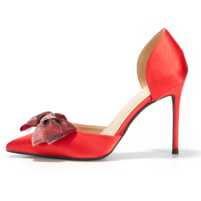 Red Big Bow Heeled D'orsay Pumps Pointed Toe Bridesmaid Stiletto Heels Wedding Shoes