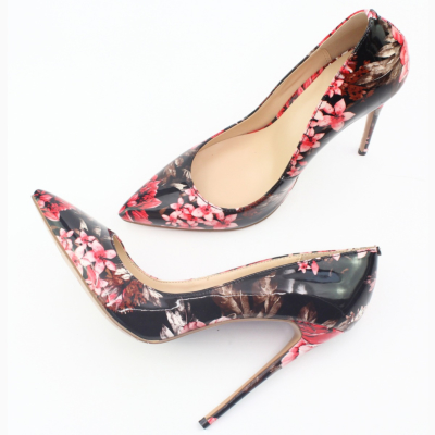 Red Floral Embossed Floral Embossed Dresses Stilettos Pumps Wedding High Heel Shoes