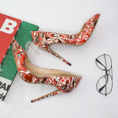 Red Marble Prints Dresses Stilettos Pumps Wedding High Heel Shoes