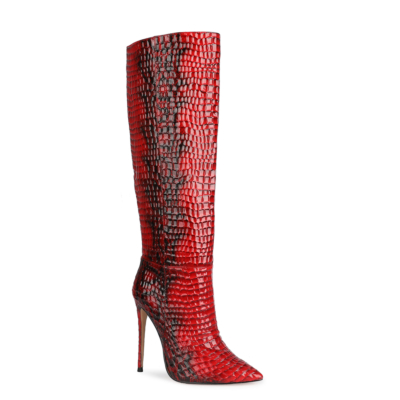 Red Patent Leather Snake Embossed High Heel Knee High Boots