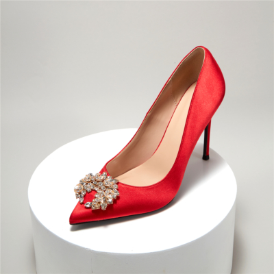Red Satin Crystals Buckle Pointy Toe Stiletto Ladies Wedding Shoes Pumps