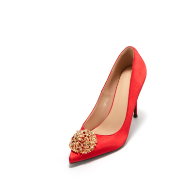 Red Satin Pearls Buckle Pointy Toe Stiletto Ladies Wedding Shoes Pumps