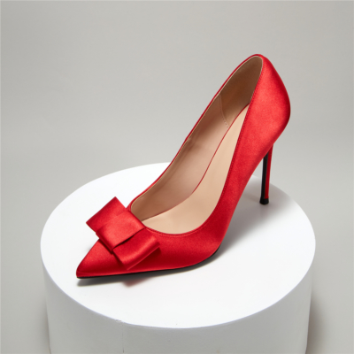 Red Satin Bridal Bow Pointy Toe Stiletto Ladies Wedding Shoes Pumps