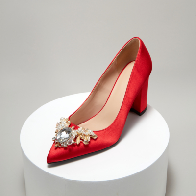 Red Satin Pointy Toe Low Chunky Heels Ladies Wedding Pumps