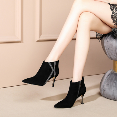 Black Suede Leather Croc-effect High Heel Ankle Boots