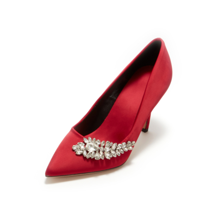 Red Wedding Crystal Embelishment Satin Pointy Toe Heeled Shoes