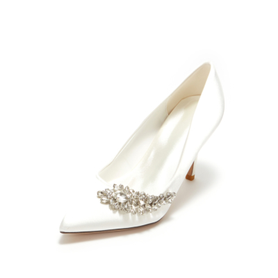 White Wedding Crystal Embelishment Satin Pointy Toe Heeled Shoes