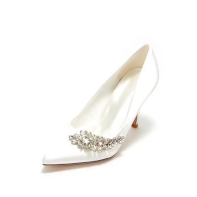 White Wedding Crystal Embelishment Satin Pointy Toe Heeled Shoes