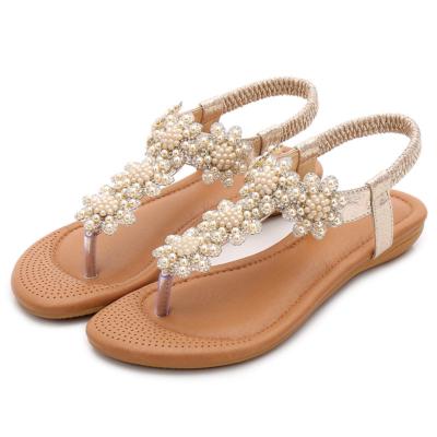 Gold Rhinestones Beads Women Ankle Strap Flat Flip Flops