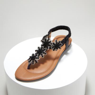 Rhinestones Beads Women Ankle Strap Flat Flip Flops