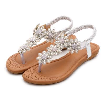 Silver Rhinestones Beads Women Ankle Strap Flat Flip Flops