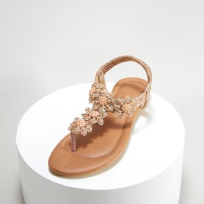 Champagne Rhinestones Beads Women Ankle Strap Flat Flip Flops