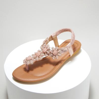 Pink Rhinestones Beads Women Ankle Strap Flat Flip Flops