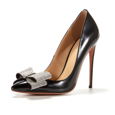 Black Rhinestones Bow High Heeled Office Pumps Stilettos Shoes for Women
