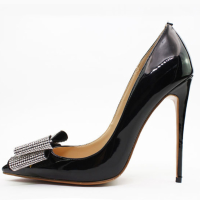 Black Rhinestones Bow High Heeled Office Pumps Stilettos Shoes for Women