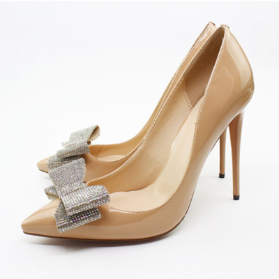 Nude Rhinestones Bow High Heeled Office Pumps Stilettos Shoes for Women