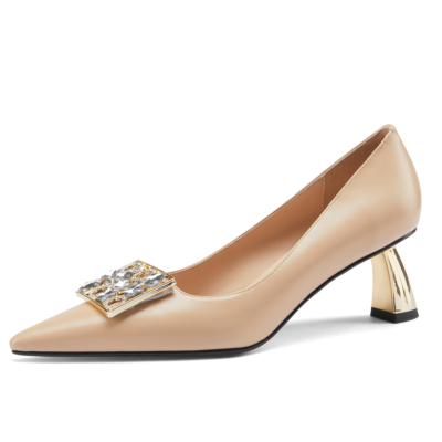 Nude Rhinestones Buckle Leather Pumps Pointy Toe Metal Heels Shoes for Work