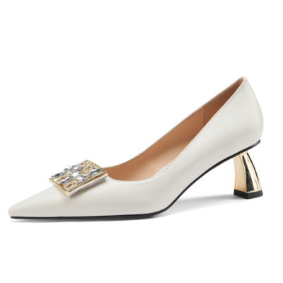 White Rhinestones Buckle Leather Pumps Pointy Toe Metal Heels Shoes for Work