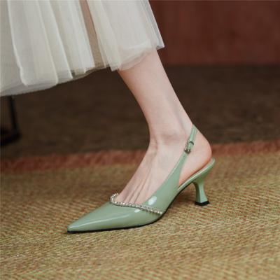 Green Rhinestones Low Vamp Slingbacks Pumps Pointed Toe Office Low Heels