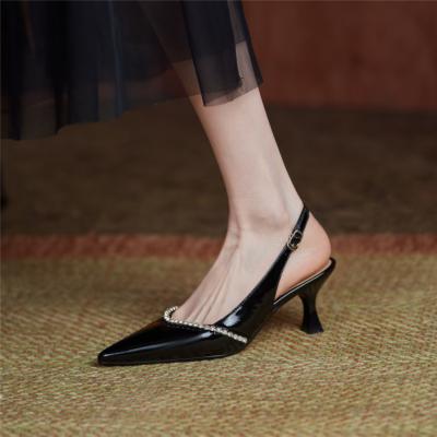 Black Rhinestones Low Vamp Slingbacks Pumps Pointed Toe Office Low Heels