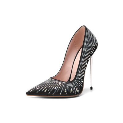 Rhinestones Satin Pumps Pointed Toe Dresses Shoes with Metallic Stiletto Heel