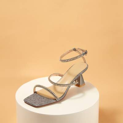Silver Rhinestones Strappy Buckle High Heels Shoes Sandals