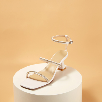 White Rhinestones Strappy Buckle High Heels Shoes Sandals