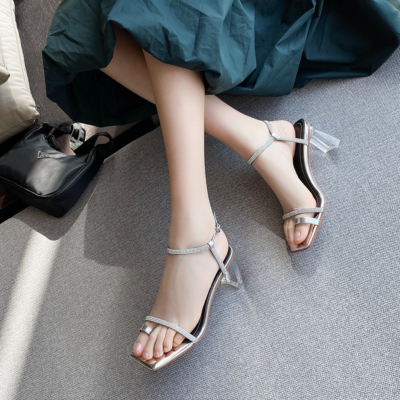 Silver Rhinestones Toe Ring Ankle Strap Clear Heel Sandals