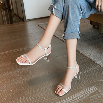 White Rhinestones Toe Ring Ankle Strap Clear Heel Sandals