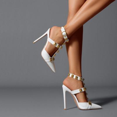 White Rivet Slingback Heeled Sandals Pointed Toe Studded T-Strap Dress Shoes