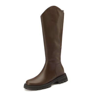 Brown Round Toe Leather 2021 Knee High Boots Cut Tall Flat Cowboy Boots