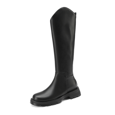 Round Toe Leather 2021 Knee High Boots Cut Tall Flat Cowboy Boots