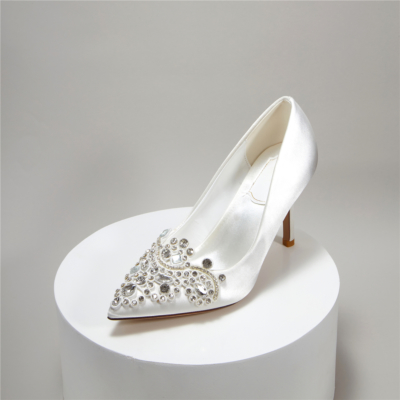 Satin Heeled Pointy Toe Crystal Wedding Pumps