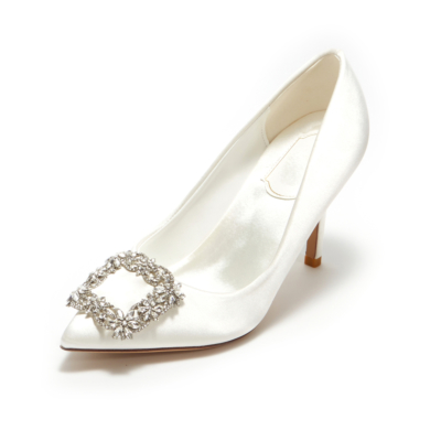 White Satin Heeled Pointy Toe Crystal Buckle Wedding Pump