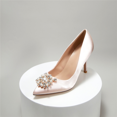Pink Satin Heeled Pointy Toe Pearl Crystal Buckle Wedding Pumps